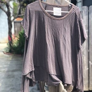 Striped Brown and Blue flowy Tee We The Free